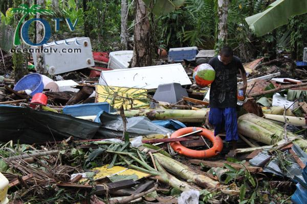 Debris after Typhoon Bopha in Ngkeklau, Ngaraard