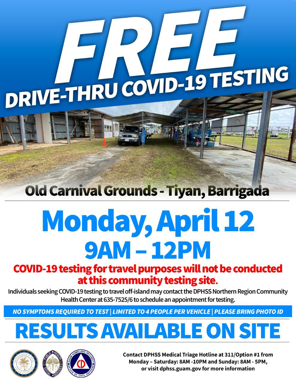 COVID-19 community testing today at old carnival grounds
