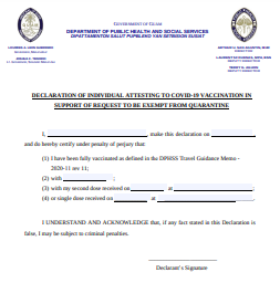 Declaration form attesting to COVID-19 vaccination now available